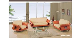 559 global furniture orange cream leather living room set qkz6xr09
