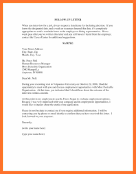 Collection Of Solutions Sample Follow Up Letter For Job Interview