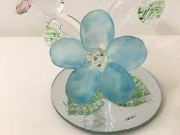 blown glass hummingbird and flower figurine w mirror base glass art 6
