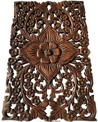 teak wood wall decor lotus flower oriental home decor decorative wall panel sculpture  on lotus panel wall art with wood wall decor lotus flower oriental home decor decorative wall
