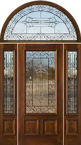 n200 wrought iron 1 2 lite door with n75 sidelights and half round transom