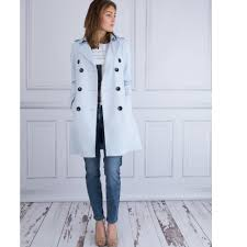 double ted trench coat with belt in pale blue