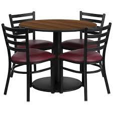 36 round walnut laminate table set with 4 ladder back metal chairs burdy vinyl seat rsrb1008 gg only