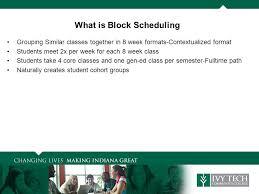 Block Scheduling Colleges Block Scheduling Glen Roberson Asst Vice President Statewide