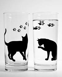 everyday drinking glasses. Simple Everyday Cat And Paws Everyday Drinking Glasses  Set Of 2 Glasses Gift For Her Intended