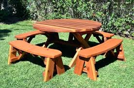 redwood picnic table round wood with wheels forever and benches plans pdf