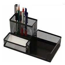 1x desk organizer mesh metal desktop office pen pencil holder storage tray black