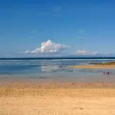oil painting like scenery fantastic beach blue sky sea golden sandy relaxing