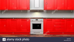 Red Kitchen Cabinets And Eletric Stove And Hood Ceramic Tiles Wall