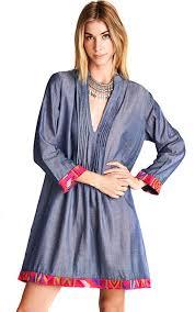 Light Blue 3 4 Sleeve Dress Velzera Velezra Womens Chambray Denim Embroidery Boho 3 4