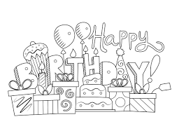 All our coloring pages are easy to print. Printable Festive Happy Birthday Coloring Page