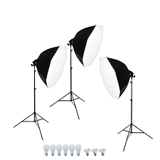 1300w 3 point photo continuous softbox lighting kit w hair light led