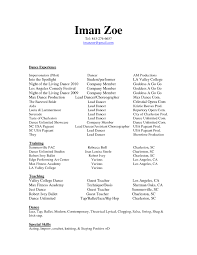 Dance Resume For Modern Dancer Resume Proyectoportal Dance Resume Templates Best Cover Letter