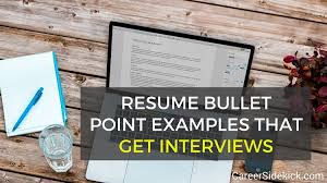 40 Resume Bullet Point Examples That Get Interviews Career Sidekick Delectable Resume Preface