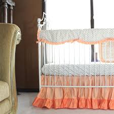 Mollyu0027s Gold Dots And Coral Ruffle Crib Bedding Set  Daybed BeddingCrib