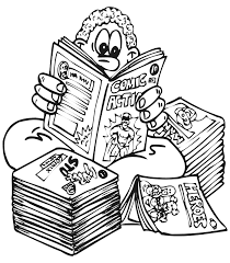 Small Picture Kid Reading Comics Coloring Page