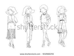 stock vector fashion vector girls set hand drawn creative illustration with lovely black and white girls in 632666255 vector coloring book girls winter clothes stock vector 558373105 on coloring set for girls