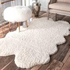 white wool shag rug. Brilliant Rug NuLOOM Handmade Faux Sheepskin Quarto Pelt White Shag Rug  3u0026x27  With Wool Shag L