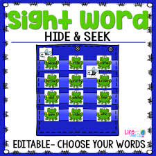 Sight Word Editable Hide Seek Pocket Chart Cards Frog Theme
