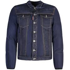 dsquared2 denim leather panel puffer jacket navy