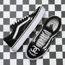 chanel x vans. vans x chrome hearts chanel old skool canvas sneakers sport shoes