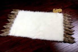 Faux Bearskin Rug White Buffalo Polar Bear Area Rug Rectangle Faux Fur Pelt Rug