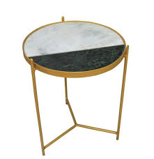 aravali round side table marble top with brass legs