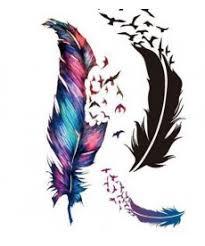Dočasné Barevné Tetování V Designu Pírek S Ptáčky