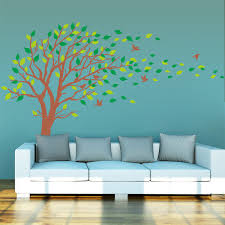 diy leaves wall decor green vinyl tree wall decals leaves decorations bedr on diy ideas for
