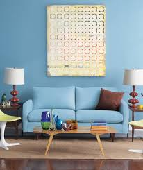 Blue Living Room With Yellow Chairs And Blue Sofa  Real Simple