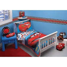 splendi disney pixar cars bedroom decor in blue wall paint color also white bed frame on red fabric carpet