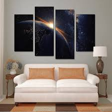 canvas painting children s room decoration 4 panel beautiful sunset on planet earth print canvas modular pictures