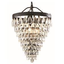 allen roth eberline oil rubbed bronze modern crystal cone pendant