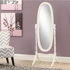 white floor mirror. Lilia Solid Wood Oval Cheval Floor Mirror - White