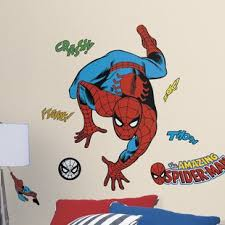 marvel enterprises classic spider man comic peel and stick wall decal on marvel comics mural wall graphic with superheroes villains wall decals you ll love wayfair