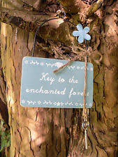 garden sign. Key To The Enchanted Forest Secret Garden Sign Wooden Plaque Shabby Chic Vintage