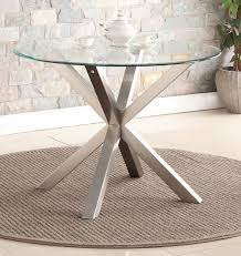 spider round glass dining table only with brushed stainless steel