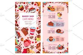 Menu Vector Template For Bakery Shop Desserts Illustrations