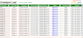 Contact List Spreadsheet Template Basic Contact List Excel List Template Contact List