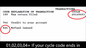 2017 Tax Year Tax Transcripts What Is A Cycle Code