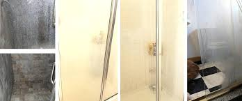 how to clean a hard water stained shower door before and after cleaning glass shower door