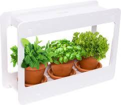 com mindful design led indoor herb garden at home mini window planter kit for herbs succulents and vegetables white garden outdoor