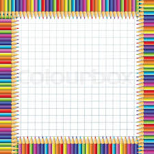 Notebook Sheet Template Vector Square Border Frame Made Of Multi Colored Wooden Pencils On