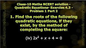 cbse class 10 maths ncert solution quadratic equations exercise 4 3 problem 1 part 4