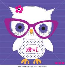 cute white owl with gles striped background vector ilration