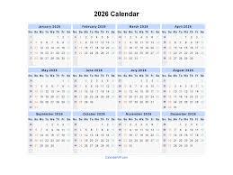 Calender Yearly 2026 Calendar Blank Printable Calendar Template In Pdf Word Excel