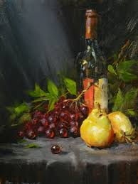 wine bottle with pears and gs oil on stretched canvas 12 x 16