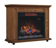 classicflame 23irm1500 o107 rolling mantel with infrared quartz fireplace oak