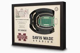 Mississippi State Football 3d Seating Chart Davis Wade Stadium 3 D Wall Art Mississippi State Bulldogs Football