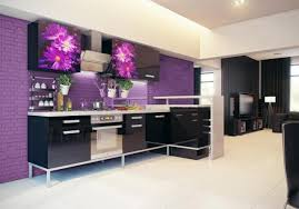 ... Wonderful-dream-kitchen-design-with-floral-wallpaper-black-